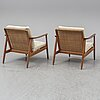 A pair of oak and rattan easy chairs, 1950's/60's.