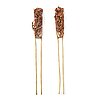 Two chinese hair pins, qing dynasty, 19th century.