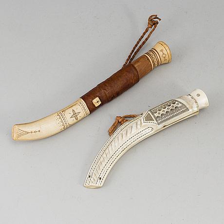2 sami knives, one by mikael alvarsson.