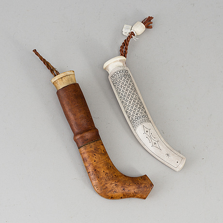 2 sami knives, one signed axel hansson, matsdal.