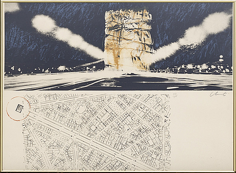 Christo & jeanne-claude, lithograph in colours, 1970, signed in pencil and numbered 247/300.