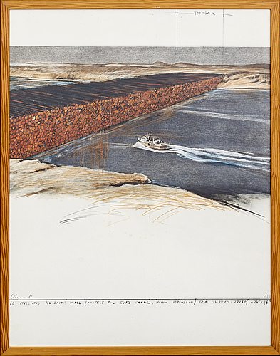 Christo & jeanne-claude, scrennprint in colours, 1972, signed in pencil and numbered 56/70.