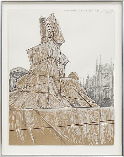Christo & jeanne-claude, lithograph in colours and collage, 1975, signed in pencil and numbered hc.