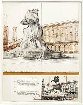 CHRISTO & JEANNE-CLAUDE, lithograph in colours and collage, 1975, signed in pencil and numbered 29/75.