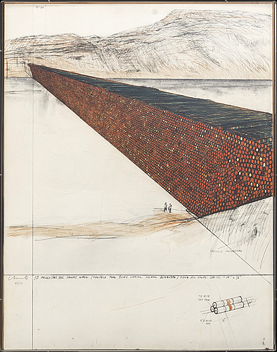 Christo & jeanne-claude,silkscreen in colours 1972, signed in pencil and numbered 53/70, printed by hans-peter haas.