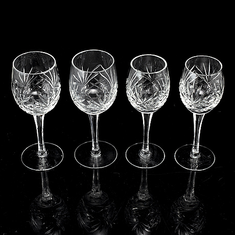 A set of 23 wine glasses from the 20th century.