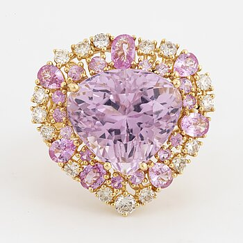 A kunzite, pink sapphire and diamond cocktail ring.