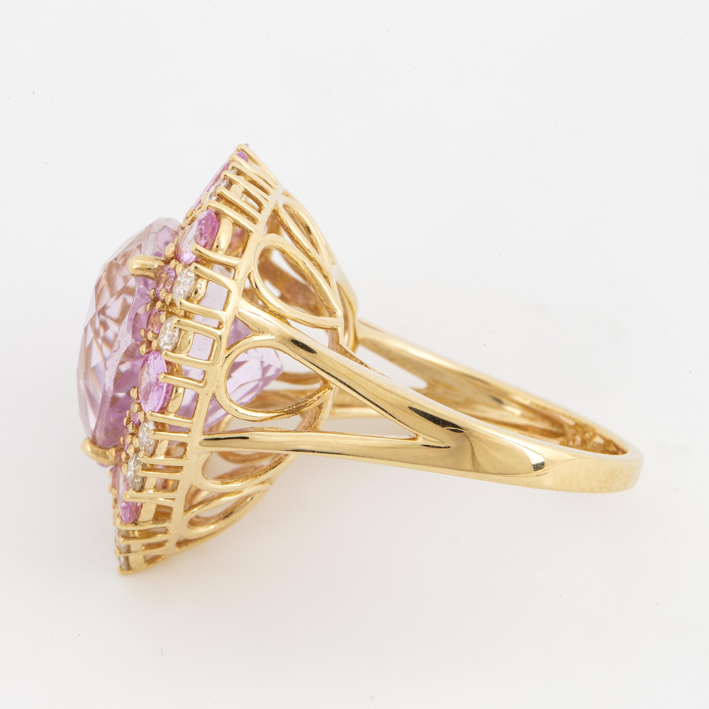 A Kunzite Pink Sapphire And Diamond Cocktail Ring Bukowskis