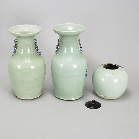 A group of three blue and white and celadon glazed vases and a jar, qing dynasty, late 19th/early 20th century.
