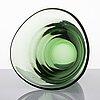 Gunnel nyman, skål, blåst, grönt glas. modell 38/1123. riihimäen lasi oy, 1938.
