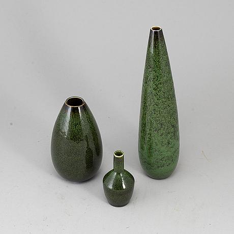 Carl-harry stÅlhane, vaser, 3 st, stengods, rörstrand, signerade.