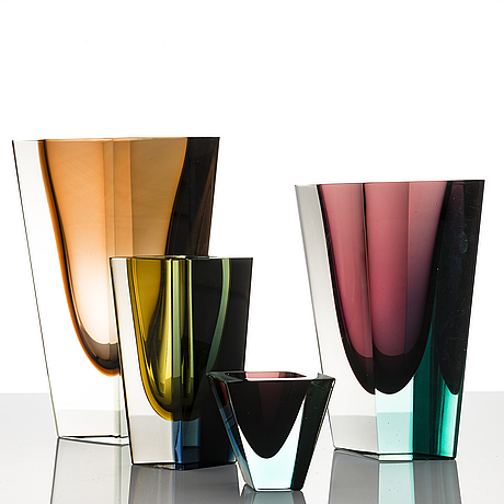Kaj franck, a set of four signed 'prisma' vases.