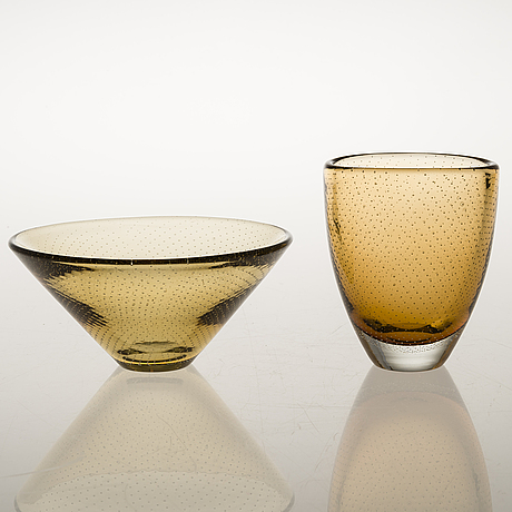 Gunnel nyman a glass bowl and a vase. signed.