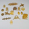 Furniture mountings, 17 parts, brass, 19th-20th century.