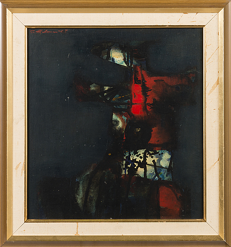 Pentti melanen, oil on board, signed and dated -68.