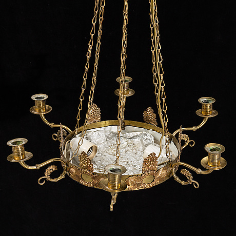 An empire-style six-light hanging lamp, 20th ct.