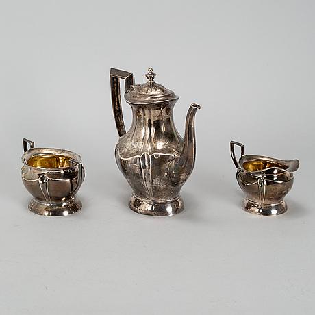 A silver coffee pot, creamer and a sugar bowl, oulu, finland 1921.