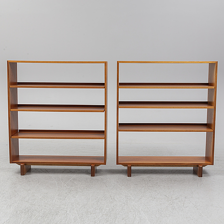 A pair of mahogany venered bookcases model 1142 by josef frank for firna svenskt tenn.