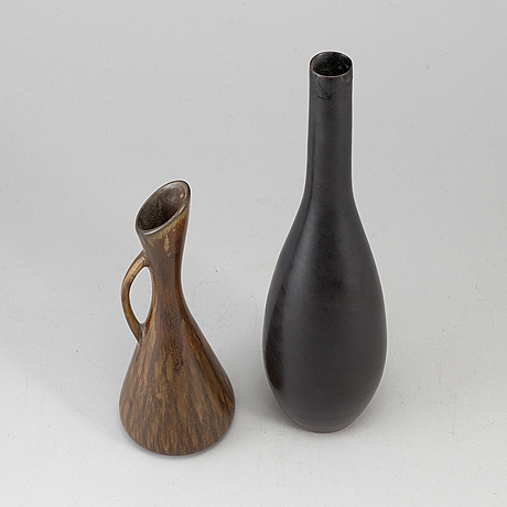 Two stoneware vases from rörstrand, carl-harry stålhane and gunnar nylund. .