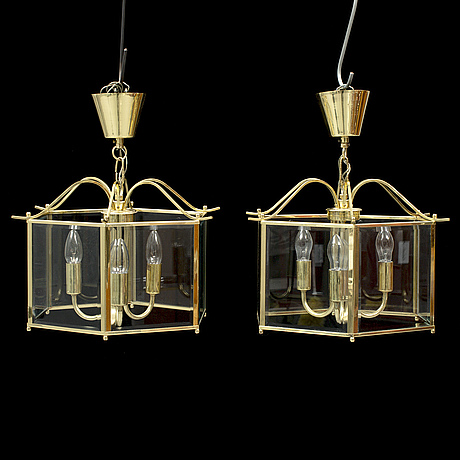 A second half of the 20th century pair of brass lanterns.
