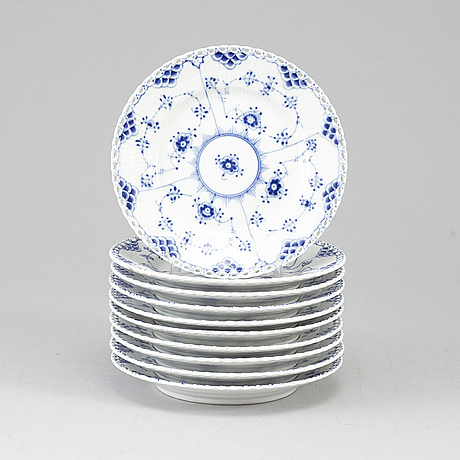 Royal copenhagen, ten small porcelain plates 'musselmalet full lace', denmark.
