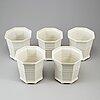 Five porcelain flowerpots by prins eugen.