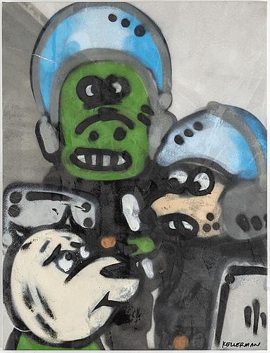 "Martin ""rocky"" kellerman, after. spray on canvas, signed."