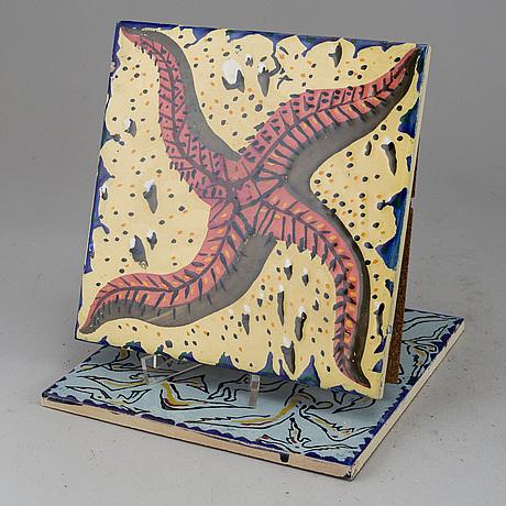 Salvador dalÍ, after. six earthenware tiles, spain.