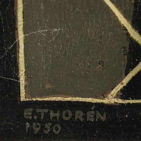 Esaias thorÉn, oil on paper-panel, signed and dated 1950.
