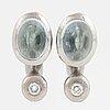 Ole lynggaard, charlotte lynggaard, earrings with cabochon-cut aquamarines and brilliant-cut diamonds.
