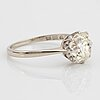 An 18k white gold ring set with a cushion formed old-cut diamond weight ca 2.75 cts quality ca l/m i.