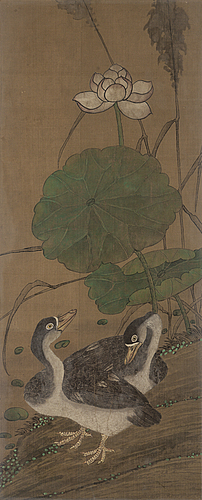 Unknown artist, a chinese painting, ink and colour on silk, first half of the 20th century.