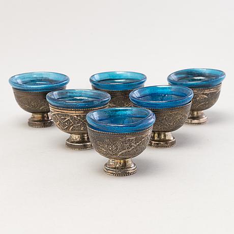 Kahvikalusto, hopeaa ja lasia, egypti 1970-luku.