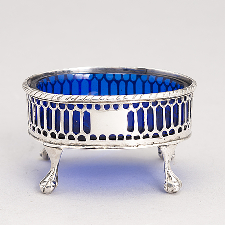 Three 18th century sterling silver salt cellars, mark of edward lowe and francis stamp, london 1769 and 1780s.