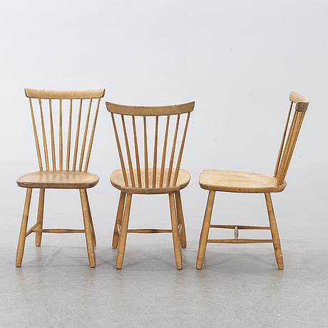 "A set of three carl malmsten ""lilla Åland"" chairs."