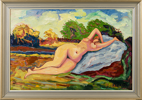 Paavo sarelli, oil on board, signed and dated -00.