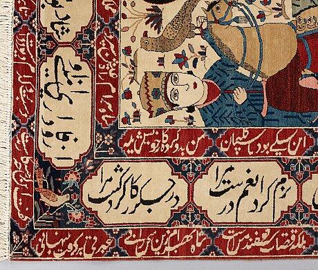A rug, semi-antique kashan figural, so called motachem, ca 205,5 x 140,5 cm.