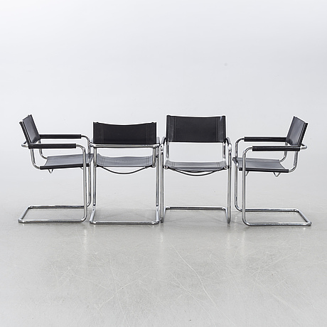 Chairs, 4, second half of the 20th century, likely italy.