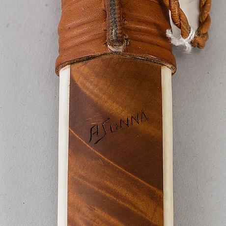 Anders sunna, a reindeer horn sami knife, signed a sunna.