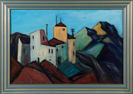 Paavo sarelli, oil on board, signed and dated -03.