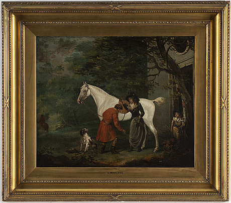 English artist, 19th century, oil on canvas, bears signature g morland and af chalon and dated 1798.