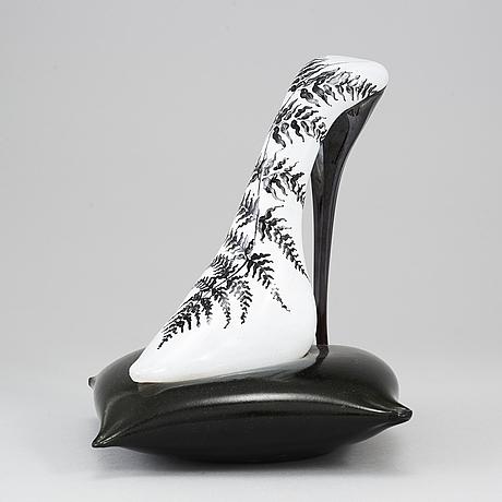 Kjell engman, a glass sculpture of a shoe, kosta boda, sweden, limited edition of 100 pcs.