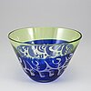 Bertil vallien, a unique blasted glass bowl, boda Åfors, nr 1250.