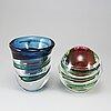 Lars hellsten, two glass vases, orrefors, sweden.