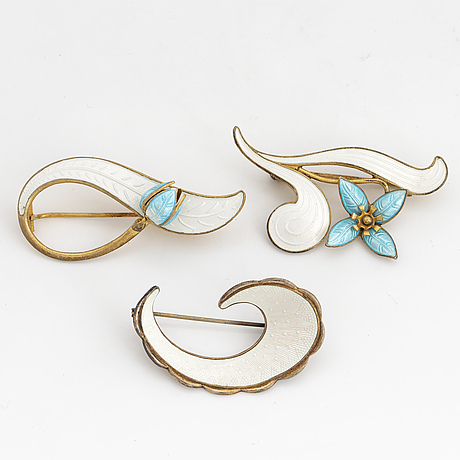 Three brooches, silver and enamel, norway.