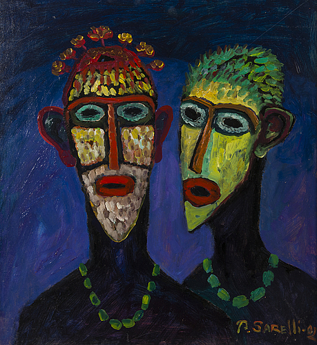 Paavo sarelli, oil on board, signed and dated -02.