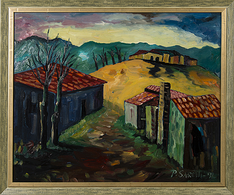 Paavo sarelli, oil on board, signed and dated -96.