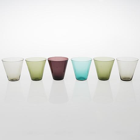 Kaj franck, a set of six 'kimara' glasses and a glass carafe, 1950s-1960s.