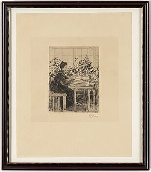 CARL LARSSON, etching, 1908, signed in pencil.