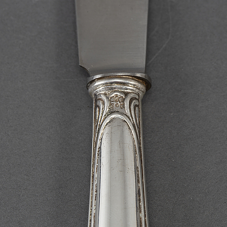 12 silver knives, 'munvig', k andersson, stockholm 1920s.